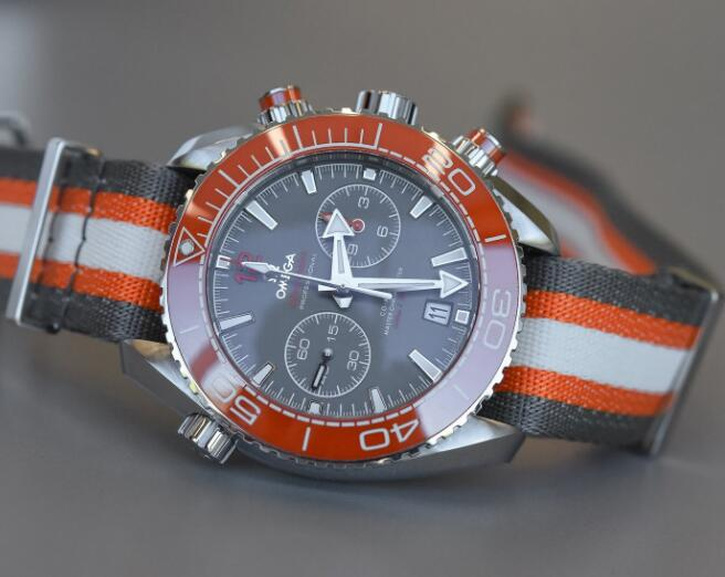 The orange bezel makes the Omega more dynamic.