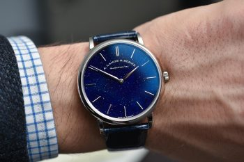 The blue dial copy watch has blue strap.
